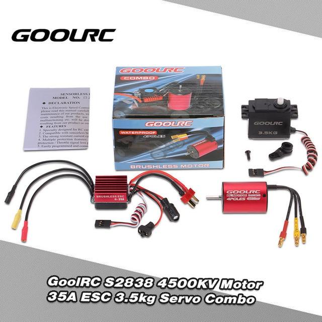 US $14 59 25% OFF|GoolRC 3200KV S2838 4500KV Brushless Motor 35A ESC 3 5kg  Servo Combo Set for 1/12 1/14 1/18 1/16 RC Car Vehicle Model Toys Parts-in