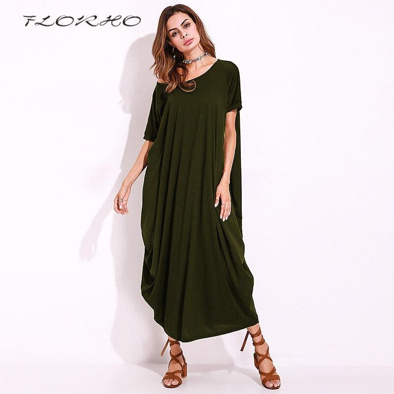 FLORHO Plain Women Maxi Dress 2017 Summer Autumn New Short Sleeve One Off Shoulder Plus Size