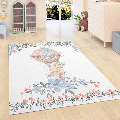 Else Blue Flowers Floral Brown Bunny Balloon Kids Room 3d Print Non Slip Microfiber Children Kids Room Decorative Area Rug Mat