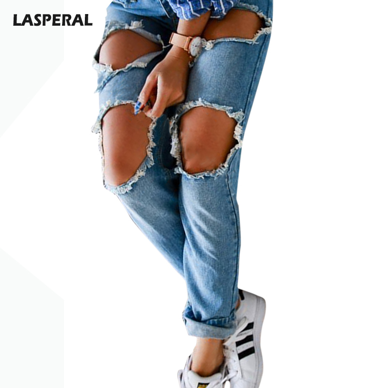 LASPERAL Square Big Hole Ripped Boyfriend Jeans Women Bleached Washed Denim Jeans Pants Vintage Casual Straight Jeans Trousers 2017 ripped boyfriend high waist jeans for women torn cool denim vintage straight pockets hole bleached washed jeans femme