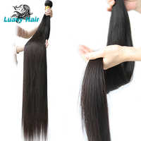 Luasy 30 32 34 36 38 Inch 40 Inch Bundles Straight Peruvian Human Hair Weave Bundles Long Remy Hair Extensions 3 4 PC Hair Weft
