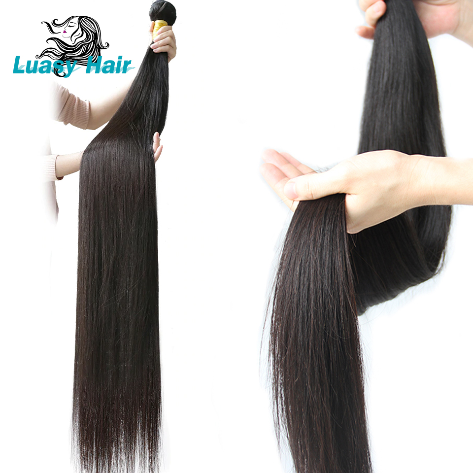 Luasy 30 32 34 36 38 pouces 40 pouces faisceaux droit péruvien cheveux humains armure paquets longs Remy Extensions de cheveux 3 4 PC trame de cheveux