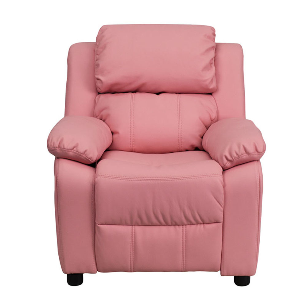 Flash Furniture Deluxe Heavily Padded Contemporary Pink Vinyl Kids Recliner with Storage Arms [863-BT-7985-KID-PINK-GG] recliner