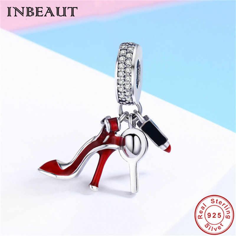 925 Sterling silver Charm Enamel High heels Dangle Fit Bracelet Jewelr