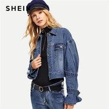 9f0c757d5b SHEIN Blue Elegant Highstreet Drop Shoulder Bleach Wash Single Breasted  Solid Denim Jacket 2018 Autumn Women Coat Outerwear