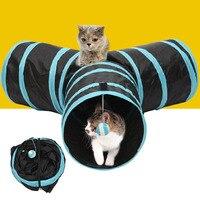 Складные 3 отверстия Кошка Туннель Игрушки Крытый Открытый домашних кошек обучение игрушка котенок кролик забавная игра туннель дом игрушк...