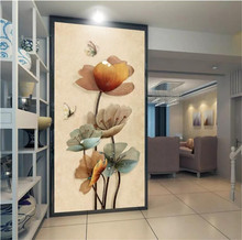 Custom murals 3D creative three-dimensional jewelry flower butterfly porch background wall manufacturers wholesale wallpaper mur
