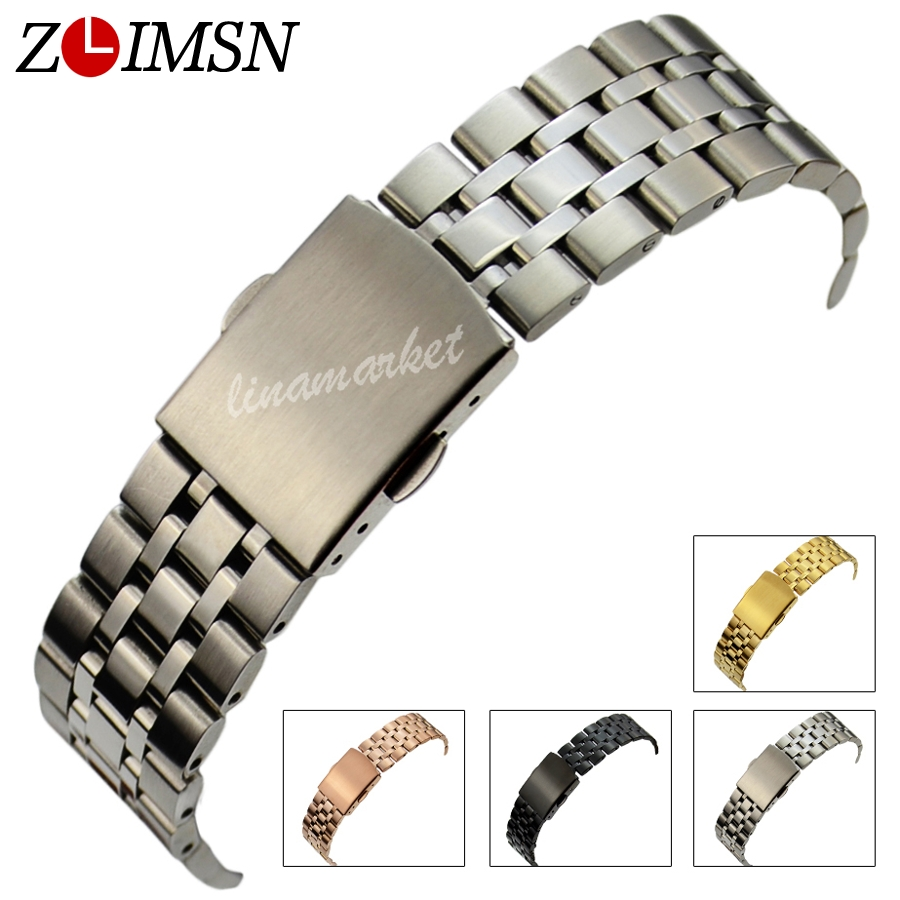 ZLIMSN Watchbands 16 18 19 20mm New Pure Solid 316L Stainless Steel Watch Bands Strap Bracelets Watch Accessories S6 13mm 20mm gold silver fashion watchbands stainless steel watch band new solid links watch bands bracelets relojes hombre