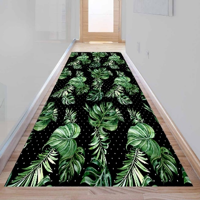 Else Tropical Green Leaf Black White Dots 3d Print Non Slip Microfiber Washable Long Runner Mat Floor Mat Rugs Hallway Carpets