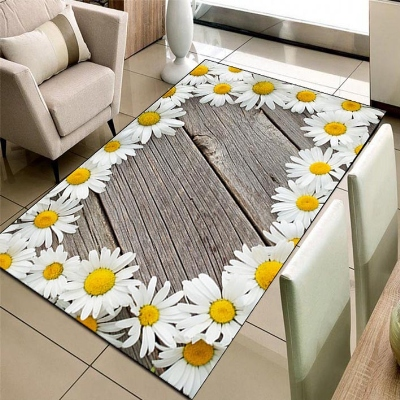 Else Gray Wood White Yellow Daisy Frame Flowers 3d Print Non Slip Microfiber Living Room Decorative Modern Washable Area Rug Mat