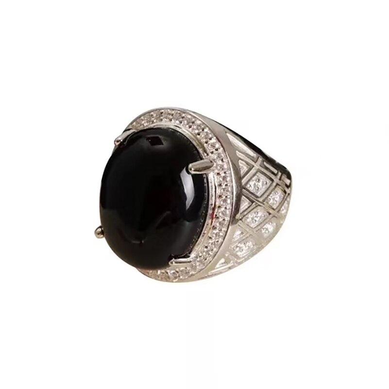 Pierres précieuses naturelles argent 925 bijoux bague en argent Agate noire hommes bague turque anneaux de mariage véritable luxe généreux MEDBOO