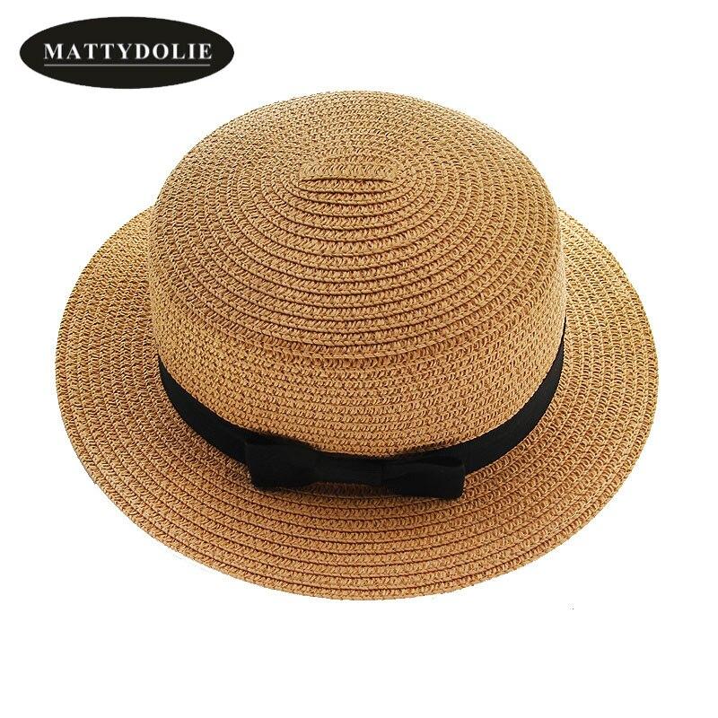 MATTYDOLIE wholesale Summer hat straw hat women child hat beach sunhat bow tie collapsible