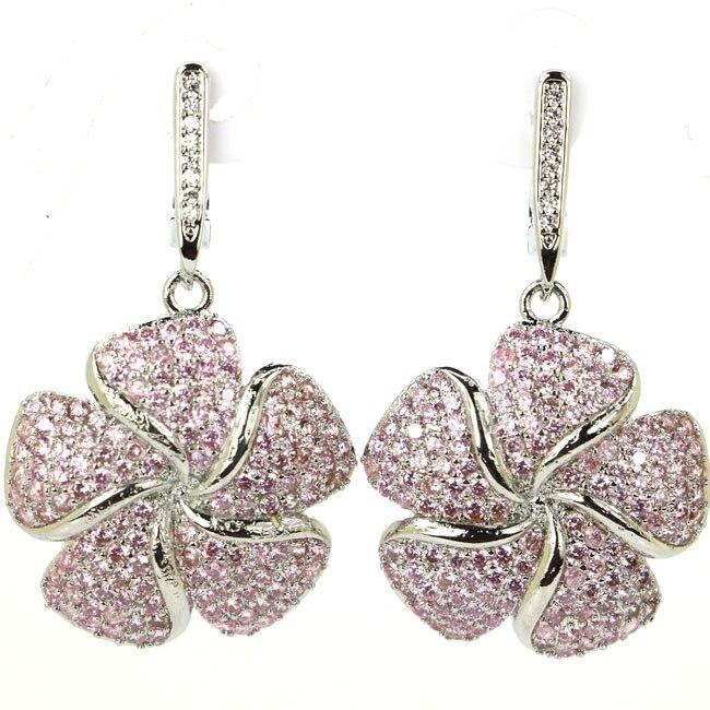 Big Flower Shape Pink Kunzite, White CZ Woman's Silver Dangle Earrings 40x24mm