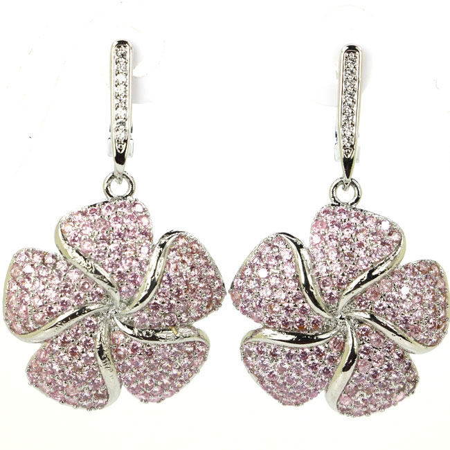 Big Flower Shape Pink Kunzite, White CZ Woman's Silver Dangle Earrings 40x24mm