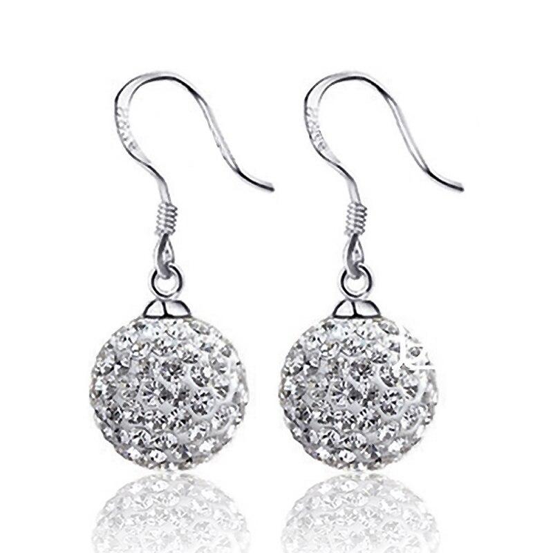Brincos de prata elegante gota dangle para as mulheres cheio de cristal cz bola contas pingente orelha brincos s925 selo jóias para o casamento e238