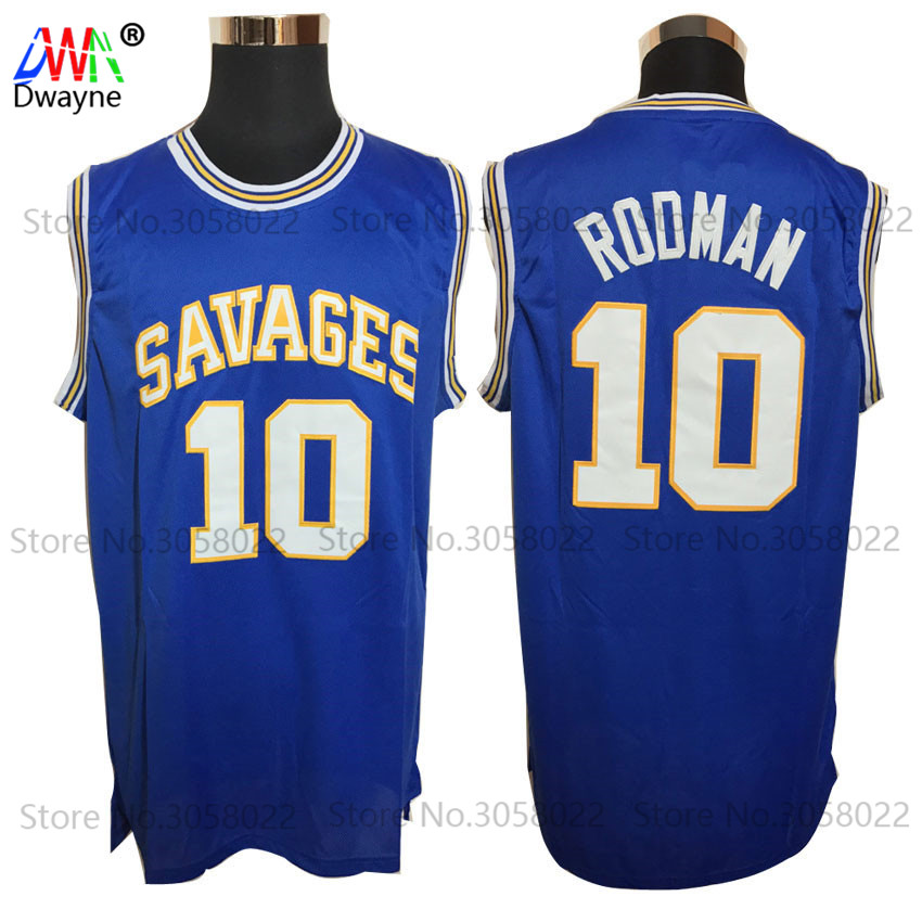цена на 2017 Dwayne Mens Dennis Rodman Basketball Jerseys Rodman 10 OKLAHOMA SAVAGES College Basketball Jersey Stitched Shirts Blue