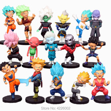 16pcs Dragon Ball Super Saiyan Rose Black Son Goku Blu Vegeta Hit Jiren Action PVC Figure Cabba Zamasu Anime Figurine Bambole
