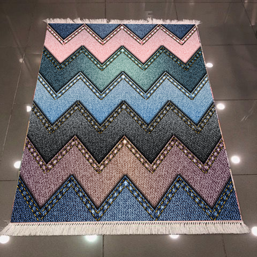 Else Blue Pink Brown Green Jeans Effect 3d Pattern Print Microfiber Anti Slip Back Washable Decorative Kilim Area Rug Carpet