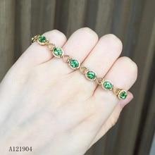 KJJEAXCMY fine jewelry 925 sterling silver inlaid natural emerald gemstone bracelet support test