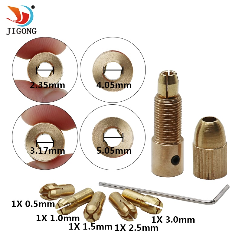 7pcs/set 0.5-3mm Electric Brass Drill Bit Set Chuck Electric Motor Shaft Clamp With Wrench Drill Bit 2.35/3.17/4.05/5.05mm