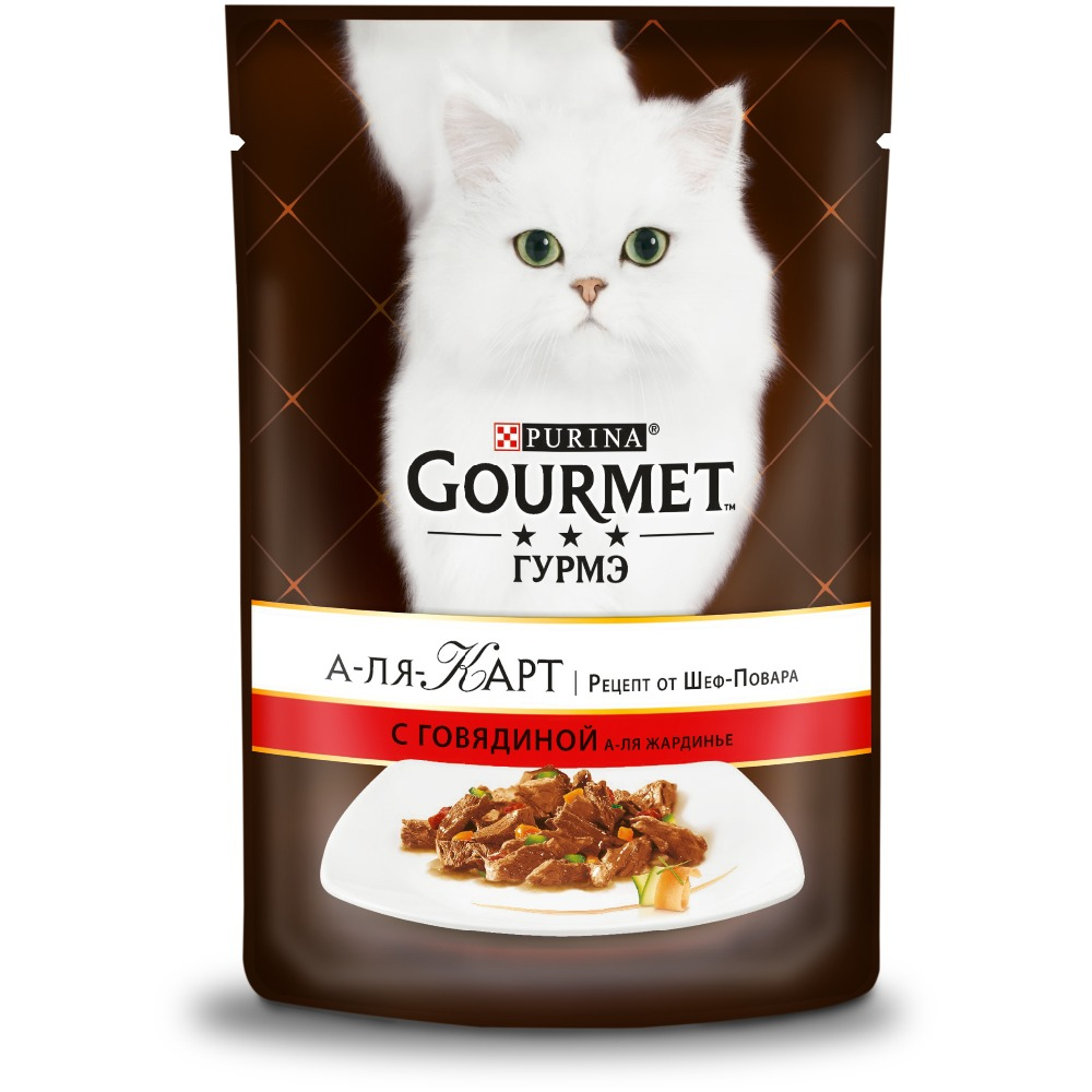 цена на Wet food Gourmet A la Carte for cats with beef a la Jardiniere, carrots, tomato and zucchini, pouch, 24x85 g.