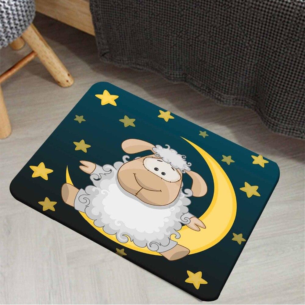 Else Navy Blue Yellow Stars Moon On White Lamp Animals 3d Print Anti Slip Doormat Home Decor Entryway Kids Children Room Mat