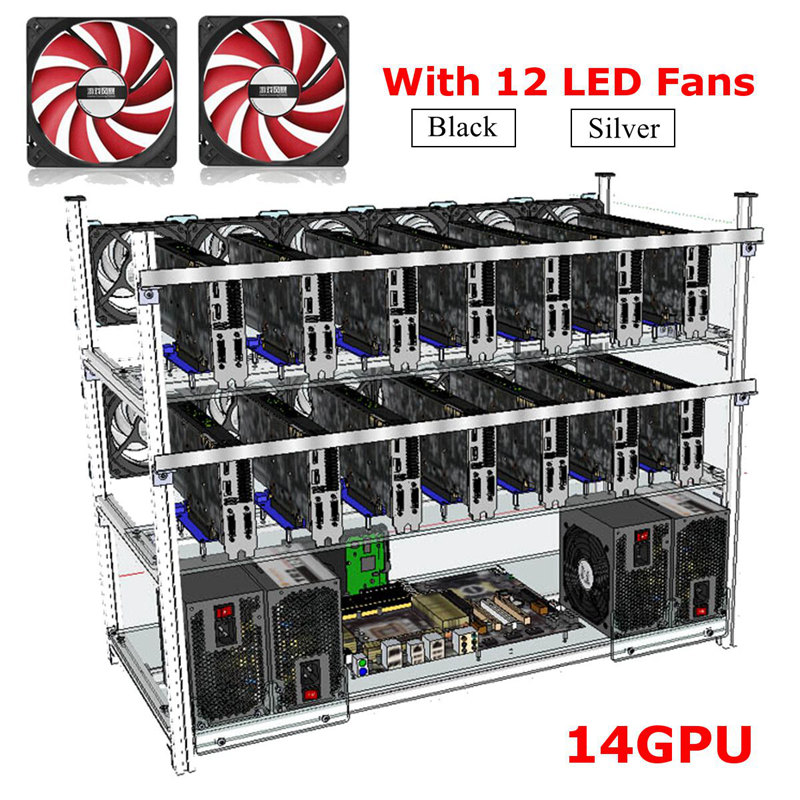 Mining Frame Up to14 GPU  with 12 Led fans Aluminum Stackable Mining Case For For Ethereum BTC
