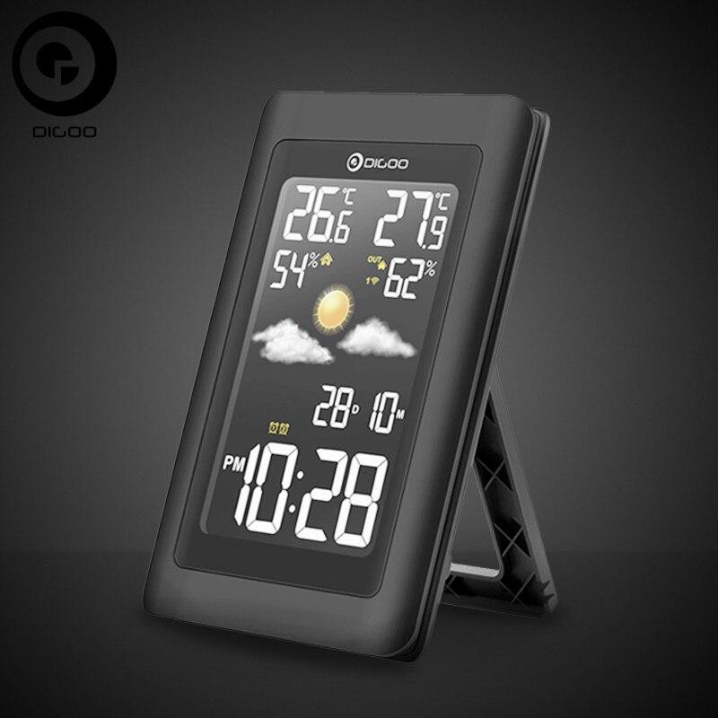 Digoo Hygrometer Thermometer Weather Station DG-TH11300 Wireless HD Negative Screen USB Outdoor VA Glass Forecast Sensor Clock