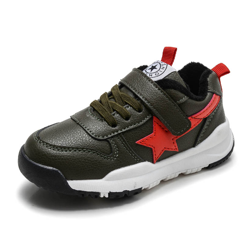 Winter Fur Lining Warm Shoes Faux Leather 2018 New Breathable Shoes Girls Boys School Shoes Non-slip Children Running Shoes
