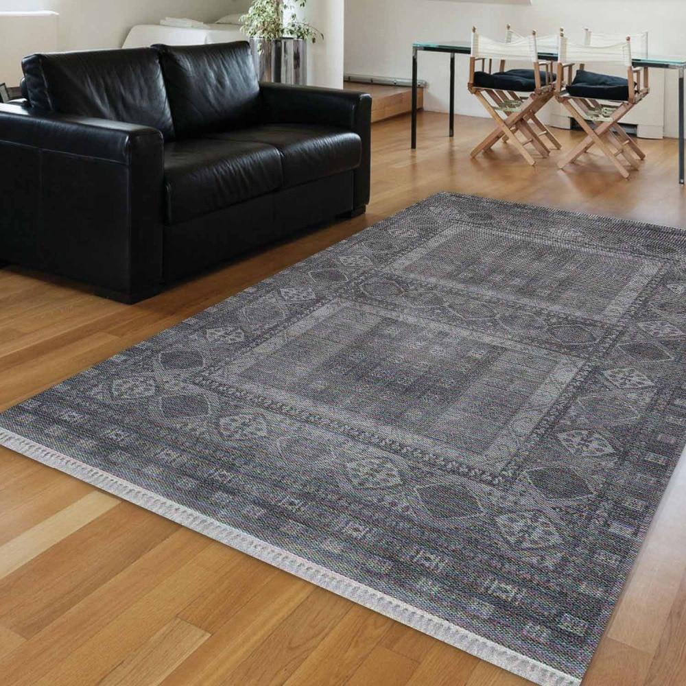 Else Black Gray Authentic Turkish Vintage Ethnic 3d Print Anti Slip Kilim Washable Decorative Kilim Area Rug Bohemian Carpet