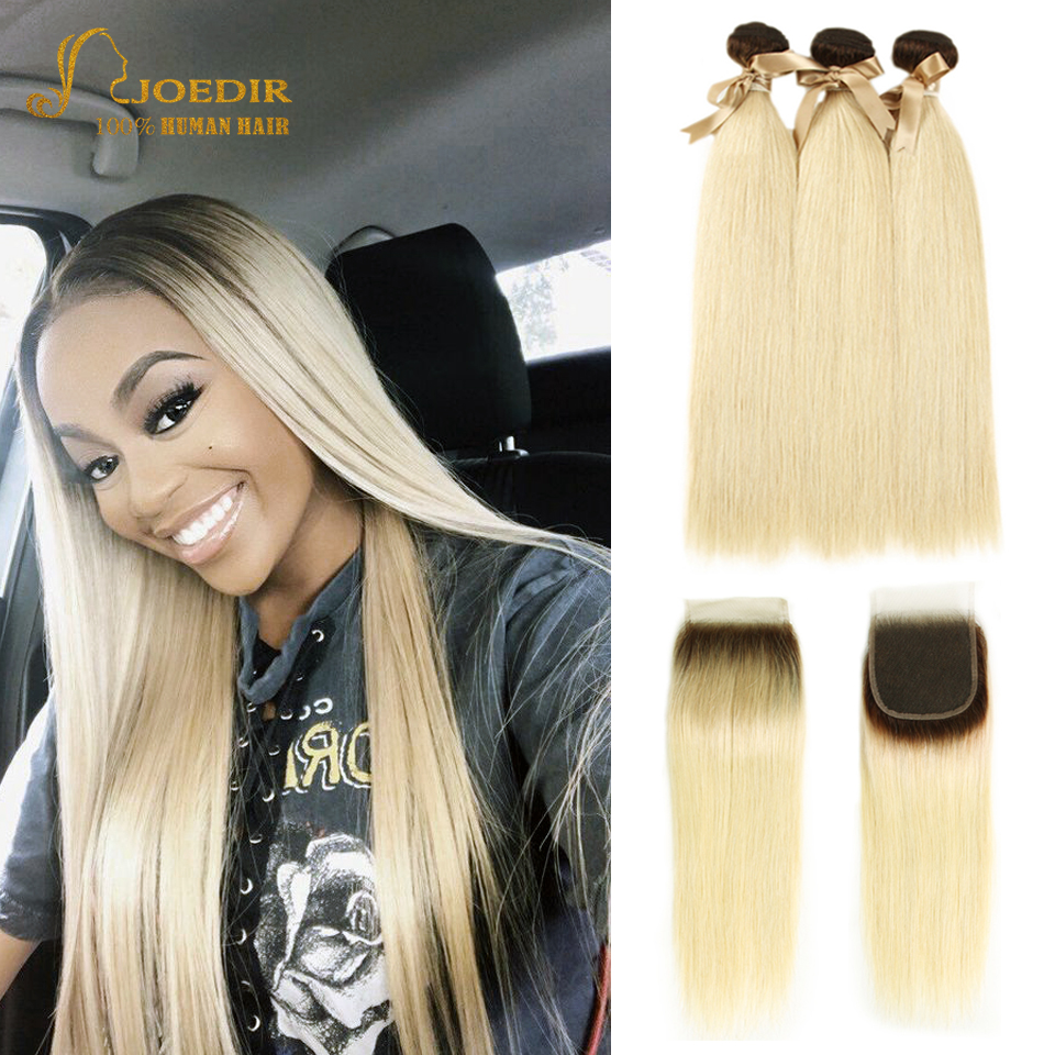Joedir Indian Straight Hair Bundles With Closure T4/613 Ombre Honey Blonde Remy Human Hair Bundles With Lace Closure 10-26 Inch