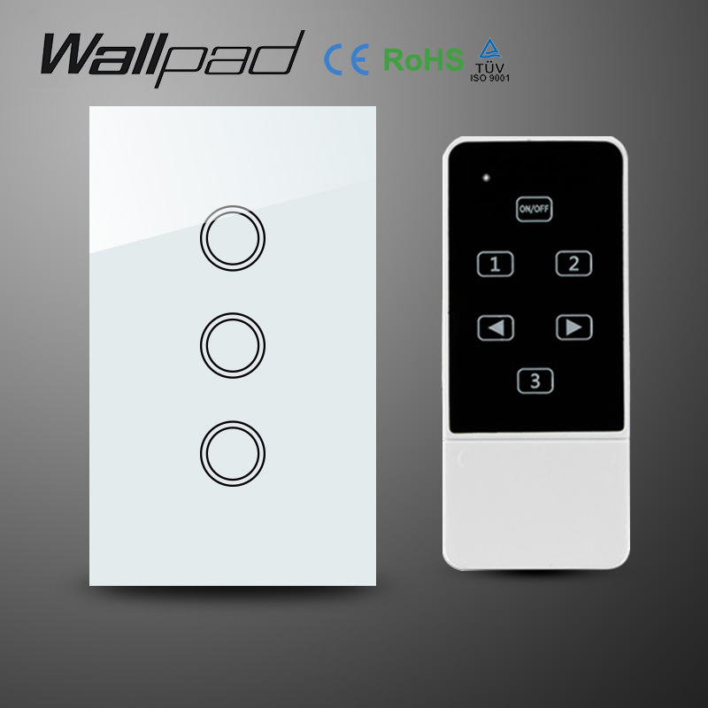 AU US Standard White AC110-240V 3 Gangs 1 Way Wireless remote control Switch,Crystal Glass RF remote touch Switch, Free Shipping