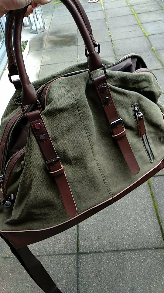 Scione Unisex Canvas Travel Shoulder Luggage Bags Large Capacity Handbag Business Casual Vintage Leather Simple Tote Bag For Men photo review