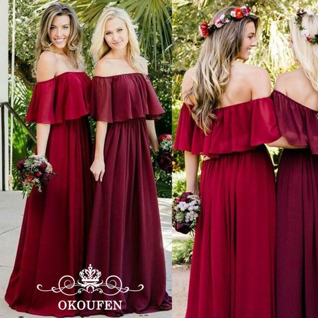 a975e1466d Flowing Dark Red Chiffon Country Bridesmaid Dresses Long Ruffles Off  Shoulder 2018 Party Dress For Wedding Bridal Gowns