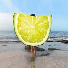 New Tapestry Yoga Mats Round Beach Towel 140cm Bath Towels Fruit Printed Summer Women Sandy swimming Sunbath Blanket Covers(China)