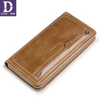 DIDE Genuine Leather Clutch Wallet Men Organizer designer Long Purses Multi Card Holder Money Bag Cowhide Phone Wallet For Male