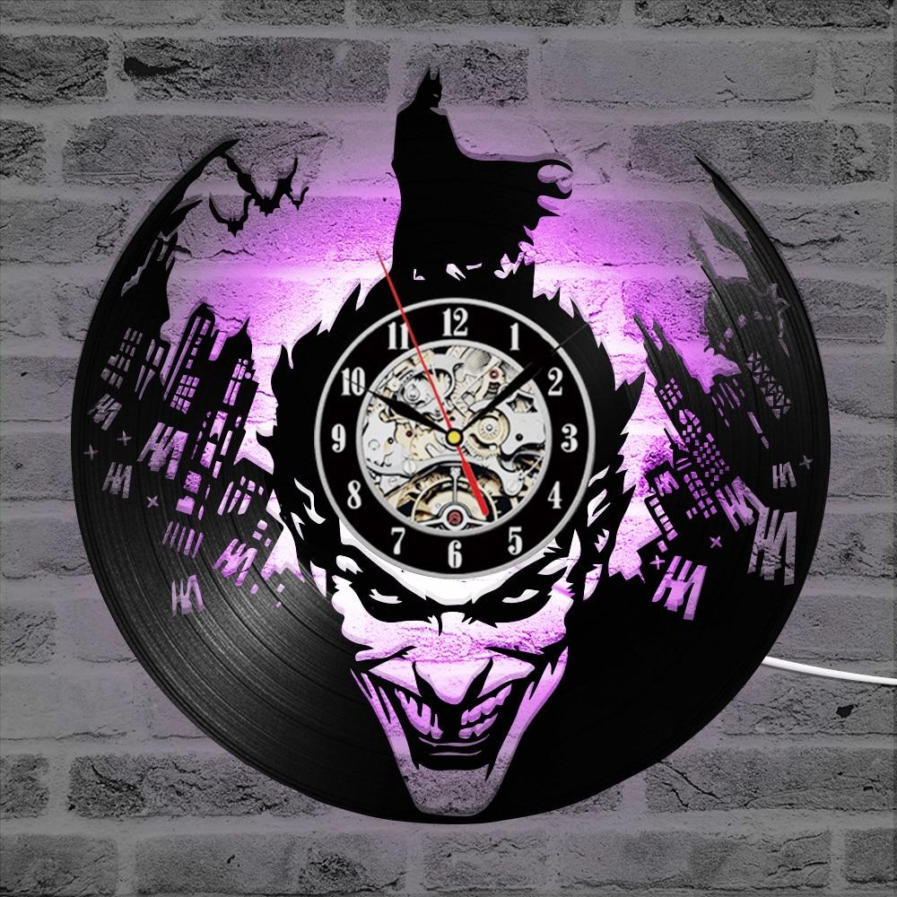 Batman Joker CD Record Wall Clock 3D Vinyl Classic LED Lighting Clock Wall Decorative Hanging Art Decor Clocks