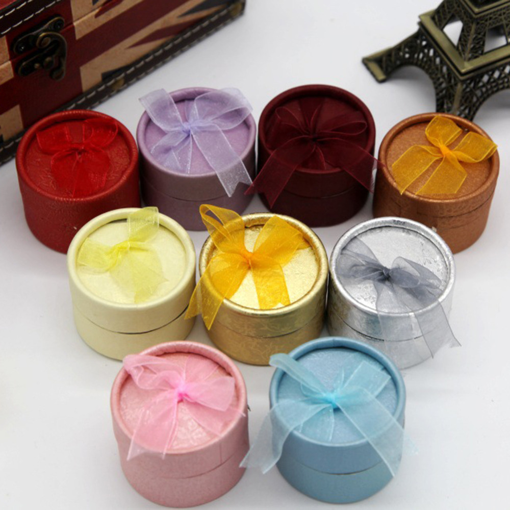 Fashion Mini Jewelry Storage Paper Box Round Shape Cute Small Gift Box For Ring Earrings Color Random
