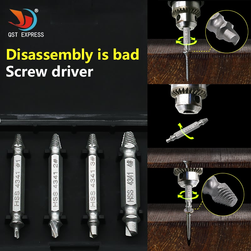 4pc HSS 4341 sdouble ended damaged screw extract or broken breakage heads crew extractors wood bolts remover extract drill Tool hss broken screwdriver wiper breakage screw removal tool screwdriver double headed wire cutter woodworking hardware
