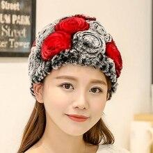 Hat Guarantee Knitted Hats For Winter Women Beanies bone Warm Pineapple Cap100% Natural Genuine Rex Rabbit Fur Cap free shipping