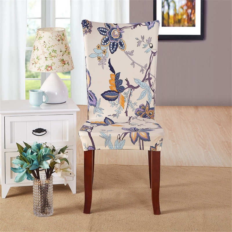 Multifunctional Elastic Cloth Chair Covers Floral Print Corn Poppy Home  Dining Spandex Universal Stretch For Home