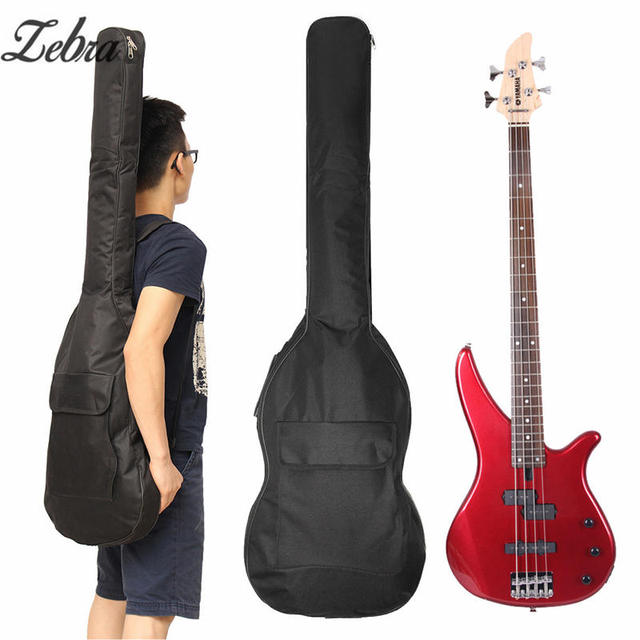 Zebra Electric Bass Guitar Padded Soft Case Gig Bag Backpack Color Black Double Straps Fit For