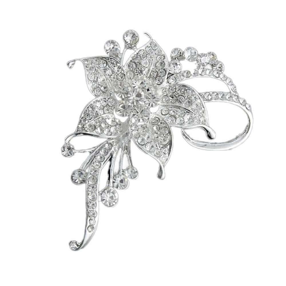 Elegan Perhiasan Alloy Rhinestones Hias Bunga Bros Wanita Bunga Logam Pin Drop Pengiriman 2018 MODE