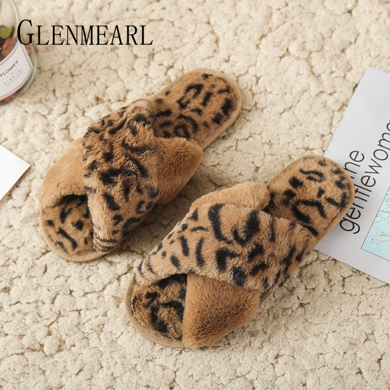 Women Slippers Winter Shoes Flat Sexy Leopard Home Slippers Woman Indoor Shoes Fur Warm Slip On Fema