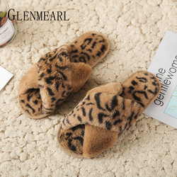 Women Slippers Winter Shoes Flat Sexy Leopard Home Slippers Woman Indoor Shoes Fur Warm Slip On Female Slides Plush Plus Size DE