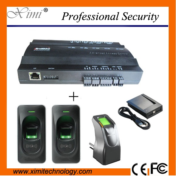 TCP/IP access control panel access control system with 2pcs fingerprint reader and 1pc fingerprint sensor and card reader biometric fingerprint access controller tcp ip fingerprint door access control reader