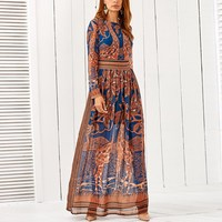 Boho Style Long Dress Women Beach Summer Dresses Long Sleeve Floral Print Retro Chiffon Orange Maxi Dress Long Vestidos de festa