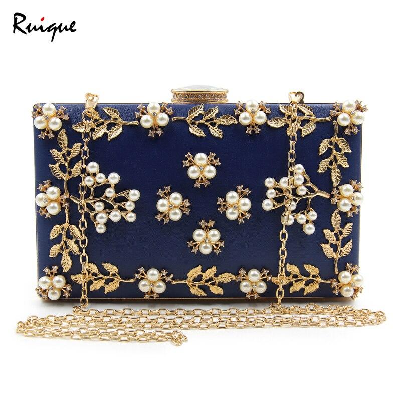 Ruique 2018 Women Fashion Handmade Simulation Pearl Evening Bag Ladies Shining Zircon Wedding Clutch Bag Girls Chain Party Bags