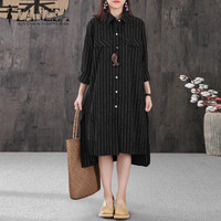 2018 ZANZEA Vintage Blusas Long Sleeve Lapel Neck Button Striped Long Blouse Split Hem Women Autumn