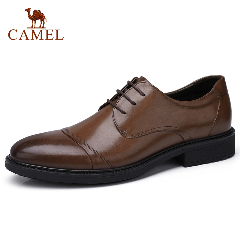 CAMEL Men's Shoes Business Dress British Trend Retro Genuine Leather Shoes Men Oxford Soft Cowhide Man Derby-in Formal Shoes from Shoes    1